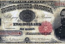 Treasury Notes / Colonial Currency of the 1700's, Confederate and Fractional Currency of the 1860's, United States Notes, Silver Certificates, Gold Certificates, National Currency and Federal Reserve Notes are among the currency LCGON inventories. Historically relevant, each series in part tells the story of U.S. history and economy. Artistically rendered, and symbolically rich, they are esthetically pleasing to collect.