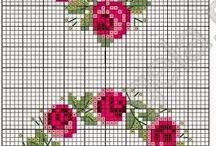 güller,sümbulker kelebekler, cicekler / Cross stick