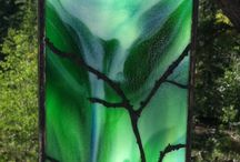 Stained  panel / Green/blue with tree
