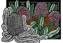 Classic Wildflowers Linocut Series / Art Deco inspired Limited Edition Handpainted Linocut by Lynette Weir