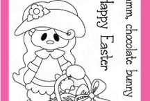 Chocolate Bunny Stamps and Dies / Clear stamps and dies from pinkandmain.com