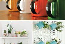 Reciclagem de canecas - transforme em lindos vasos de flores e hortas!