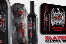 Rock Wine Coaster Set / Check out Wine&Roll's very own coaster sets dedicated to rock wines http://www.wineandroll.co.uk/slayer_reigninblood.html http://www.wineandroll.co.uk/thewines_motorhead.html