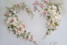 schilderij met bloemen van stof