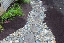 Dry river bed and paving