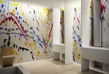 """Action Painting / The """"action painting"""" technique of Jackson Pollock, among the greatest exponents of abstract expressionism of the 20th century, inspires a collection that transform the whole space into visual performance art."""