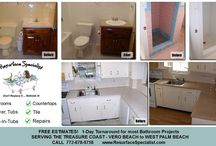 Bathtub Resurfacing Treasure Coast / Resurface and Refinish your bathroom, tub, tile, and shower and save thousands over replacement. Serving the Treasure Coast. http://ResurfaceSpecialist.com