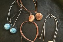Bridesmaid's Gift Collections / Earrings, rings, necklaces - a family in style, unique in colors. Since my medium is so versatile, I can make any piece, in any size and color. I usually work with hypoallergenic titanium for ear wires, so even those with metal allergies can wear them. All my rings are adjustable.  Truly unique gifts for those closest to you in your wedding party.