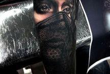 women portrait tattoos / portraits-masks and full body