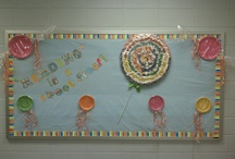 Bulletin Board / 6 purposes: 1) provide appropriate decor for the room, 2) provide timely info. students need (instructionally relevant material), 3) showcase/display students' magnificent schoolwork, 4) assignments, 5) rules, & 6) schedules. Change students' papers at least once a month. Have a bulletin board of creative writing ideas.  / by Alicia Eyer