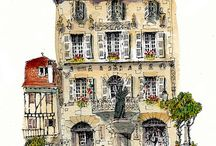 Watercolor city scapes