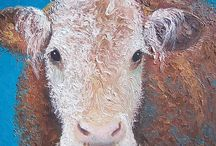 Kitchen Wall Decor / Oil paintings of cows, roosters, pigs, rabbits and cakes