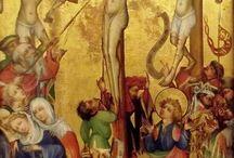 HERMANN SCHADEBERG - CROCIFISSIONE DEI DOMENICANI / 1415 CIRCA. COLMAR (ALSAZIA), MUSEO UNTERLINDEN. PITTORE STRASBURGHESE (1399-1449)