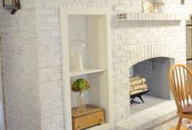 Paint the red brick fireplace