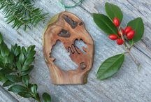 Natural wooden Christmas ornaments / Hand crafted wooden Christmas ornaments available through www.jemklein.etsy.com