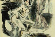 """""""Les Amies Femmes (1940)"""" - Louis Berthomme Saint-André / Louis Berthomme Saint-André, né le 4 février 1905 à Barbery (Oise), et mort le 1er octobre 1977 à Paris, est un peintre et illustrateur français. Il est considéré comme le plus moderniste des peintres Abd-el-Tif de sa génération.  II a dessiné des illustrations érotiques pour des œuvres de Verlaine, Apolinaire, Baudelaire, Diderot, Voltaire, Musset, Jean-Louis Miege, etc."""