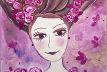 """Aurore et les Roses / """"Aurore et les roses"""" naïf romantique-peinture acrylique-  Petite fille romantique aimant les roses... sur un fond poétique, rose violine, parme, quelques pointes de vert métalisé. Création personnelle, ne pas reproduire SVP.  Tableau 20 x 20. Bords peints et verni."""
