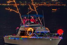 Boat decorating for Christmas Parade
