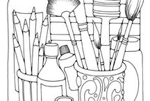 Kunst kleurplaten/ art coloring pages