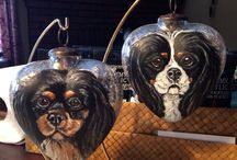 Hand painted Dog Portrait Christmas Ornaments / Dog portrait and breed hand painted Christmas ornaments by Mechelle Roskiewicz of Loved Dogs Art
