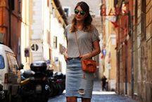 denim skirt / denim skirt; jean skirt