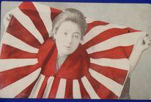 Japanese Rising Sun Flag in War Art Design / Japanese vintage antique postcards etc