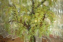 фото - деревья из бисера
