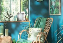 lime green and turquoise painted wall