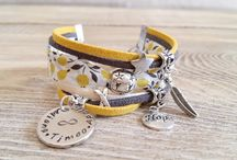 Les BEAUX JOURS :-) / Bijoux, Liberty, bracelet médaille gravée,