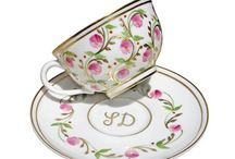 Handpainted porcelain Madame de Pompadour / Completely hand-painted and detailed in fine gold, this Limoges Porcelain Collection  is inspired by Madame de Pompadour and features her favorite color of rose pink. Feminine and classic porcelain.