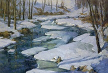 Winter is Here / A few lovely winter scenes by Donald Allen Mosher and Marilyn James. While they both paint beautiful and compelling Vermont landscapes in oil, their styles and finished artworks could not be more different. We think this contrast creates a fascinating opportunity to contemplate the range of talented artists to be found here in New England! 