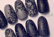 Nail art - black and grey