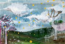 my illustrations / illustrations made by me, images for kids. Mixed media on panel and paper