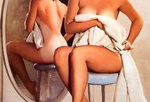 Pin Ups / Adorables.Las pin-ups fueron muy populares en los años 50 del siglo pasado y estaban inspiradas en modelos reales, si bien, los dibujantes hacían las veces de photoshop