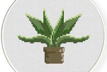 Krížiková výšivka - Kaktusy, sukulenty, rastliny