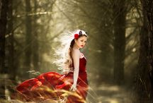 Red dress and forest