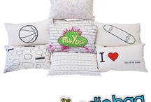 The PillYo's / Express your individuality by designing your very own custom pillow.  Introducing the PillYo's!  You can draw, doodle, tag, color, scribble, or paint it.  Our design-your-own products are the perfect activity for any special occasion.