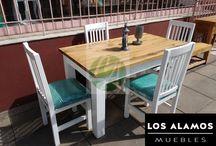 linea mesas Los Alamos muebles en tigre / juego de comedor indu combinado con madrera y patinado con tapiz alta densidad