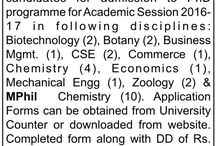 Ph.D Admission / Application are invited from the eligible candidates for admission to Ph.D/Mphil programme for academic session 2016-17