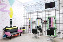 MičStyling - salon fryzjerski z fantazją / MičStyling to wiodąca marka salonów fryzjerskich w Słowenii. YMS to nowy pomysł na stworzenie salonów z myślą o młodych ludziach (Young  MičStyling). Inspiracją dla projektantów była stylistyka postmodernizmu lat  70-tych i 80-tych. autorzy projektu: David Kladnik, Jaka Neon, pracowania Kitsch Nitsch, Fot. Miha Brodarič / Multipraktik. Tekst: Justyna Majkowska