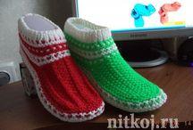 Crochet knitting slippers