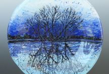 Fused glass trees and landscapes