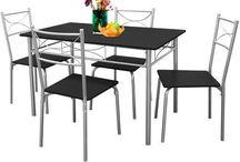 Dining Table Set  Furniture Room Patio Breakfast Food Black