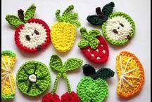 frutas al crochet con iman