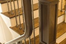 Craftsman Style Staircase Remodeling Gallery / The Craftsman Style Staircase Remodeling Gallery showcases bold lines and geometric wrought iron matched with dark treads and light risers. Many of our Craftsman style components originate from the wrought iron Aalto series and pair with our modern wood collection. Other series such as the Versatile collection offers the geometric style knuckle balusters. These wrought iron balusters are paired with bold wood components to emphasize the strong lines found in Craftsman style design.