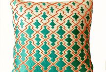 teal orange decorative pillow cover