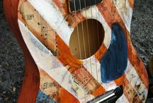Decoupaged ukuleles