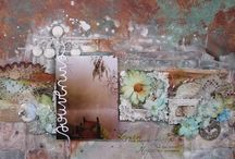 Scrapbook Layouts created with ColourArte / Scrapbook pages inspired by ColourArte mixed media paints www.colourarte.com
