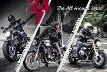 24/7, The All Around Series. / The most comprehensive range of motorcycling footwear devised to ride safely and stylishly, 24 hours a day, 7 days a week.
