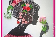 Quilled lady with rose